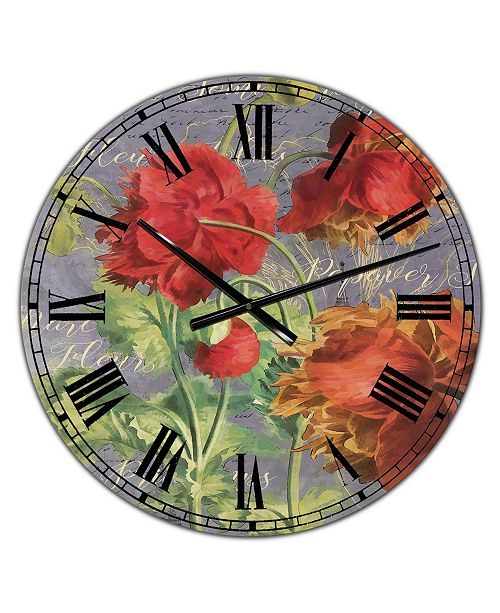 """Designart Red Poppies Large Cottage Wall Clock - 36"""" x 28"""" x 1"""""""