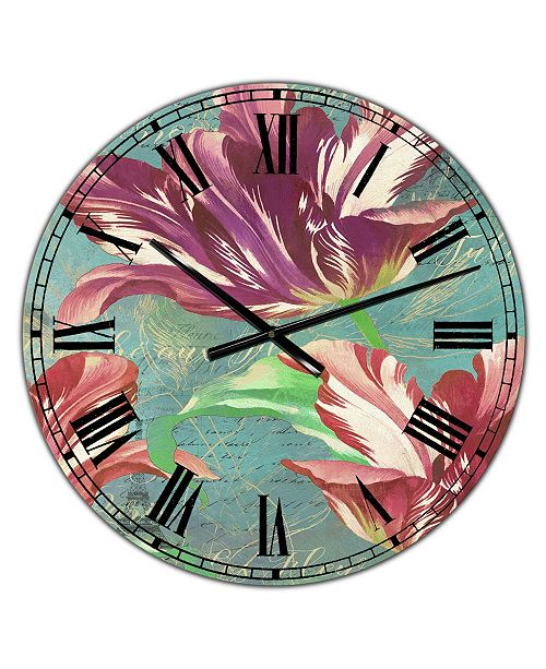"Designart Vintage-Inspired Tulips in Paris Oversized Cottage Wall Clock - 36"" x 28"" x 1"""