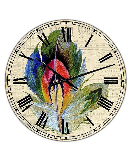 "Designart Colorful Elegant Feather II Large Cottage Wall Clock - 36"" x 28"" x 1"""