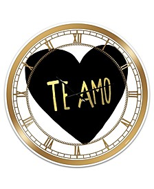 "Te Amo Large Glam Wall Clock - 36"" x 28"" x 1"""