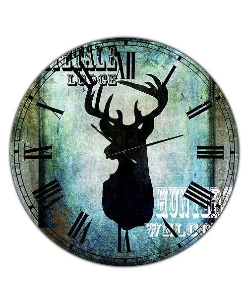 "Designart Lodge Whitetale Lodge Oversized Cottage Wall Clock - 36"" x 28"" x 1"""