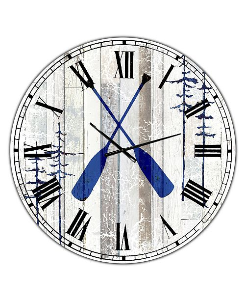 "Designart the Blue Moose - Oars Oversized Cottage Wall Clock - 36"" x 28"" x 1"""