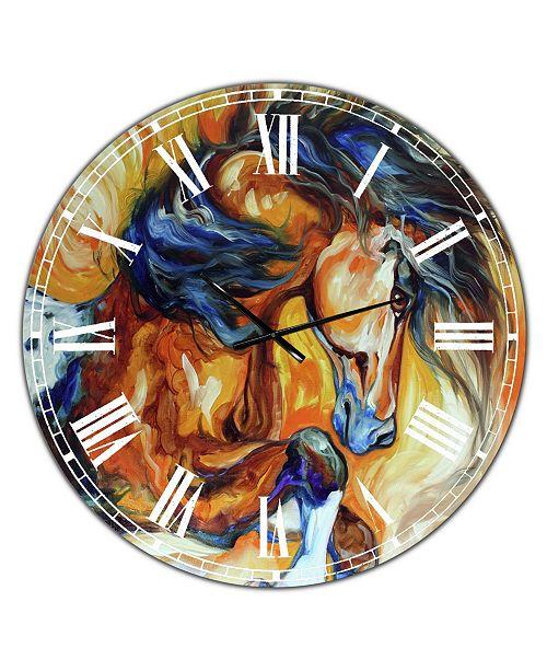 "Designart Dance of the Wild One Oversized Cottage Wall Clock - 36"" x 28"" x 1"""