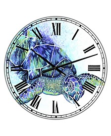 "Sea Turtle Oversized Cottage Wall Clock - 36"" x 28"" x 1"""