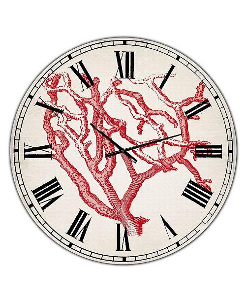 "Designart Red Coral 2 Large Nautical & Coastal Wall Clock - 36"" x 28"" x 1"""
