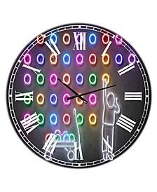 "Boy Collecting Neon Circles Oversized Modern Wall Clock - 23"" x 23"" x 1"""