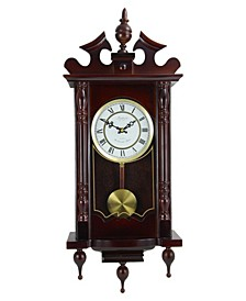 "Clock Collection Classic 31"" Chiming Wall Clock with Roman Numerals and a Swinging Pendulum"