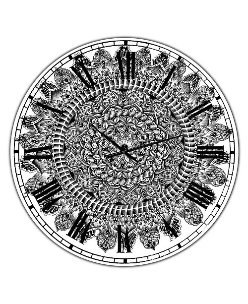"Designart Mandala Drawing Large Traditional Wall Clock - 23"" x 23"" x 1"""