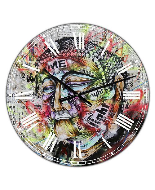 "Designart Street Art Graffiti Holy Man Large Modern Wall Clock - 38"" x 38"" x 1"""