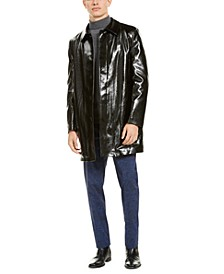 Men's Slim-Fit Black Shiny Raincoat with Leopard Print Faux Fur Lining