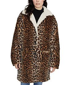 Sanctuary Sierra Animal-Print Faux-Fur Coat