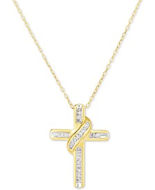 "Diamond Cross 18"" Pendant Necklace (1/4 ct. t.w.) in 14k Gold-Plated Sterling Silver"