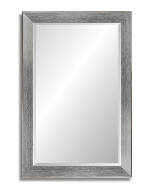 "Reveal Frame & Decor Reveal Brushed Chrome Beveled Wall Mirror - 27"" x 40.5"""