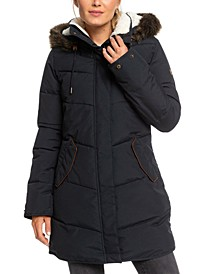 Juniors' Ellie Hooded Faux-Fur-Trim Puffer Coat