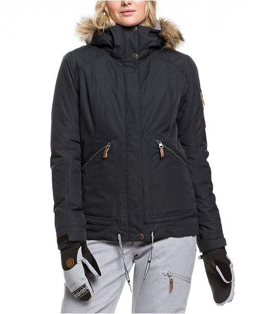 Roxy Juniors' Meade Hooded Faux-Fur-Trim Active Jacket