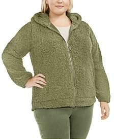 Trendy Plus Size Hooded Fleece Jacket