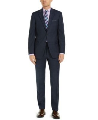 Men's Modern-Fit Navy Mini Grid THFlex Suit Jacket