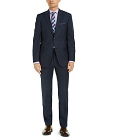 Men's Modern-Fit THFlex Stretch Navy Mini-Grid Suit Separates