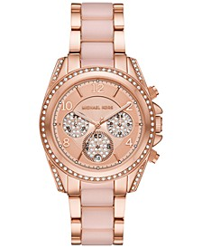Women's Chronograph Blair Rose Gold-Tone Stainless Steel & Blush Acetate Bracelet Watch 39mm