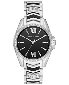 Women's Whitney Stainless Steel Pavé & Black Enamel Bracelet Watch 38mm