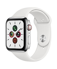Apple Watch Series 5 GPS + Cellular, 44mm Stainless Steel Case with White Sport Band