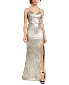 Juniors' Sequin-Dot Slit Gown