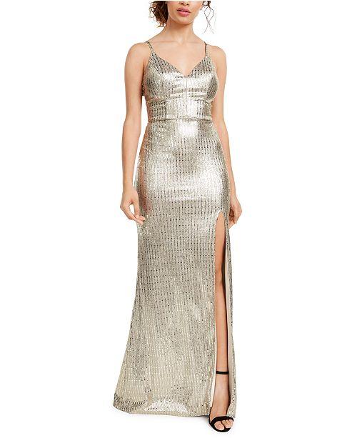 City Studios Juniors' Sequin-Dot Slit Gown