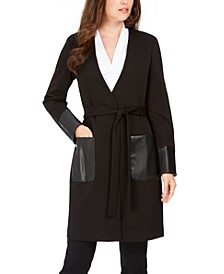 Faux-Leather-Trim Belted Cardigan