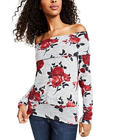 Juniors' Off-The-Shoulder Rose Print Sweater