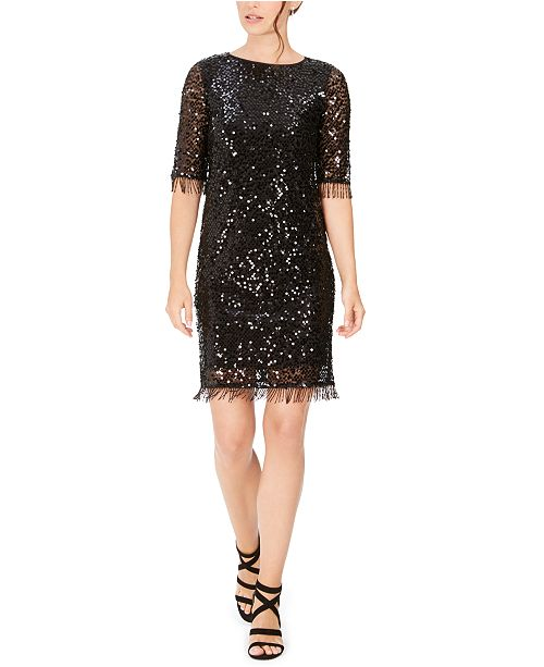Taylor Sequined Fringe Shift Dress