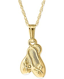 "Child's Ballet Shoes 15"" Pendant Necklace in 14k Gold"