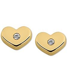 Child's Cubic Zirconia Heart Stud Earrings in 14k Gold