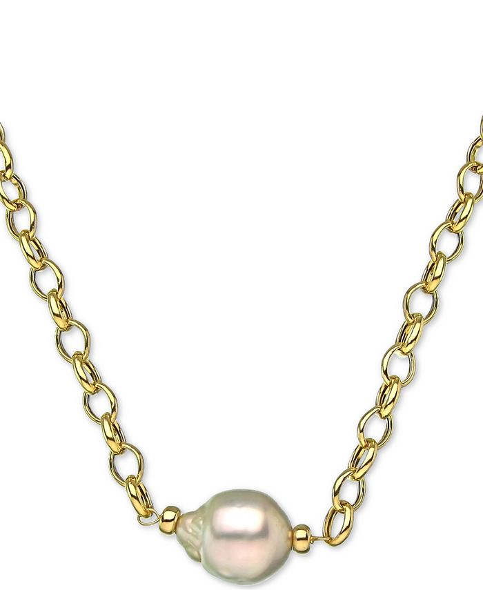 """Macy's - Cultured White South Sea Baroque Pearl (11mm) 19"""" Pendant Necklace in 18k Gold-Plated Sterling Silver"""