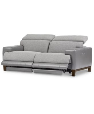 Madiana 2-Pc. Fabric and Leather Sectional with 2 Power Recliners, Created For Macy's