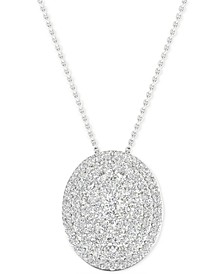"Diamond Oval Cluster Pendant Necklace (1/2 ct. t.w.) in Sterling Silver, 16"" + 2"" extender"