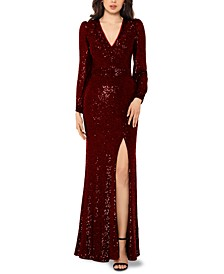 Petite Sequin V-Neck Gown
