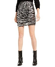 Zebra Sequin Mini Skirt, Created For Macy's