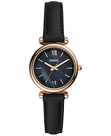 Women's Carlie Mini Black Leather Strap Watch 28mm