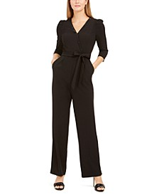 Belted Bling Surplice Jumpsuit