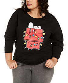 Love Tribe Trendy Plus Size Snoopy Graphic-Print Sweatshirt