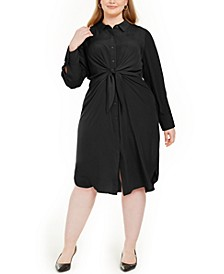 Plus Size Tie-Front Shirtdress, Created For Macy's