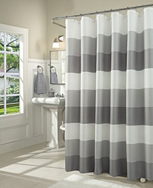 Ombre Waffle Striped Shower Curtain