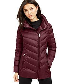Asymmetrical Hooded Packable Down Puffer Coat, Created for Macy's