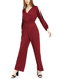 Slit-Sleeve V-Back Jumpsuit, Created For Macy's