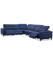 "Sleannah 6-Pc. Fabric ""L"" Shape Sectional with 3 Power Recliners"