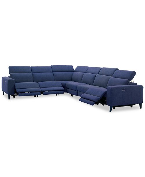 "Furniture Sleannah 6-Pc. Fabric ""L"" Shape Sectional with 3 Power Recliners"