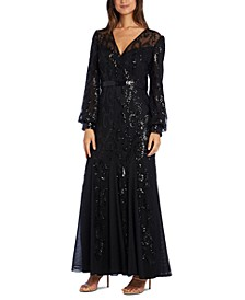 Sequined Blouson-Sleeve Gown