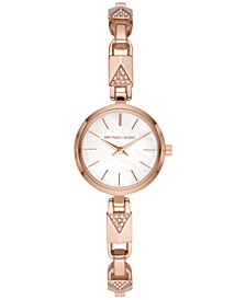 Women's Petite Jaryn Rose Gold-Tone Stainless Steel Mercer Lock Bangle Bracelet Watch 24mm