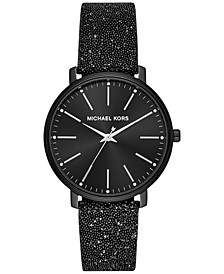 Womens Pyper Black Swarovski® Crystal Leather Strap Watch 38mm