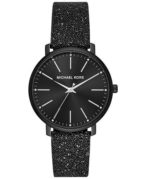 Michael Kors Womens Pyper Black Swarovski® Crystal Leather Strap Watch 38mm